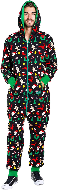 Men's Cozy Christmas Onesie Pajamas - Black Holiday Cookie Cutter Adult Cozy Jumpsuit