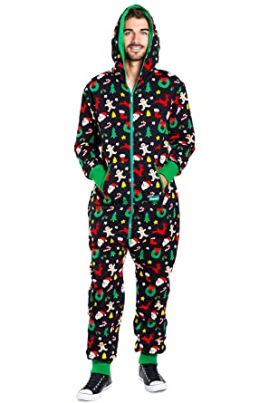 3bab5b9122ed Tipsy Elves Men s Christmas Onesie Pajamas - Black Holiday Cookie Cutter  Adult Jumpsuit  Small