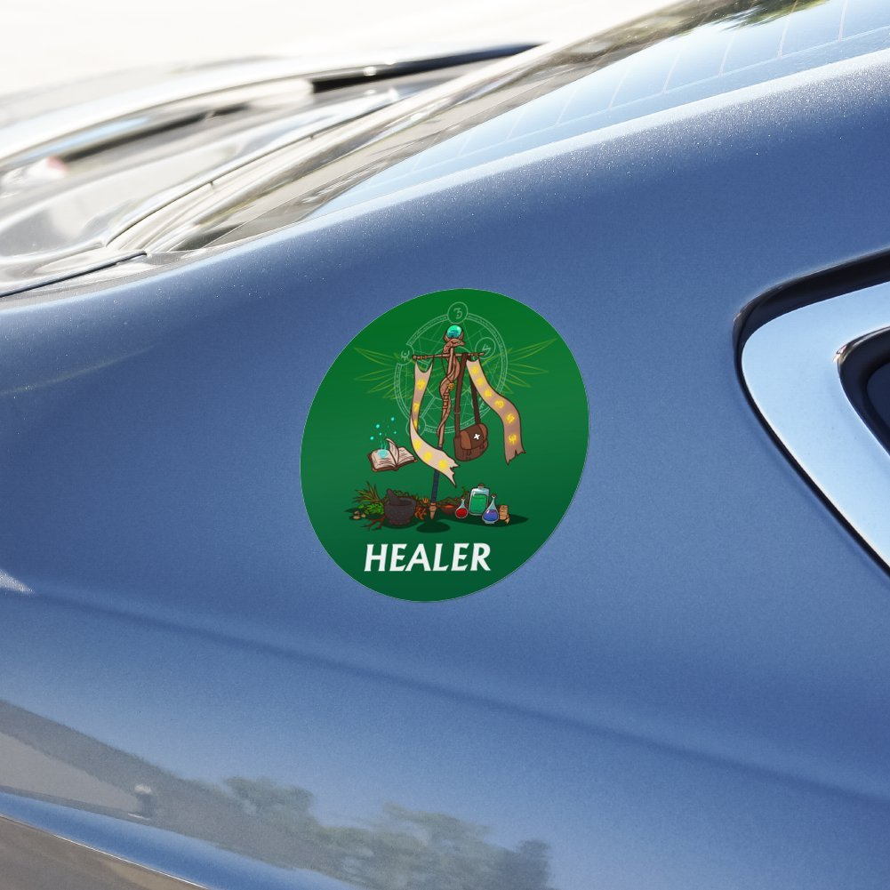 Amazon com graphics and more healer cleric rpg mmorpg class role playing game automotive car window locker circle bumper sticker automotive