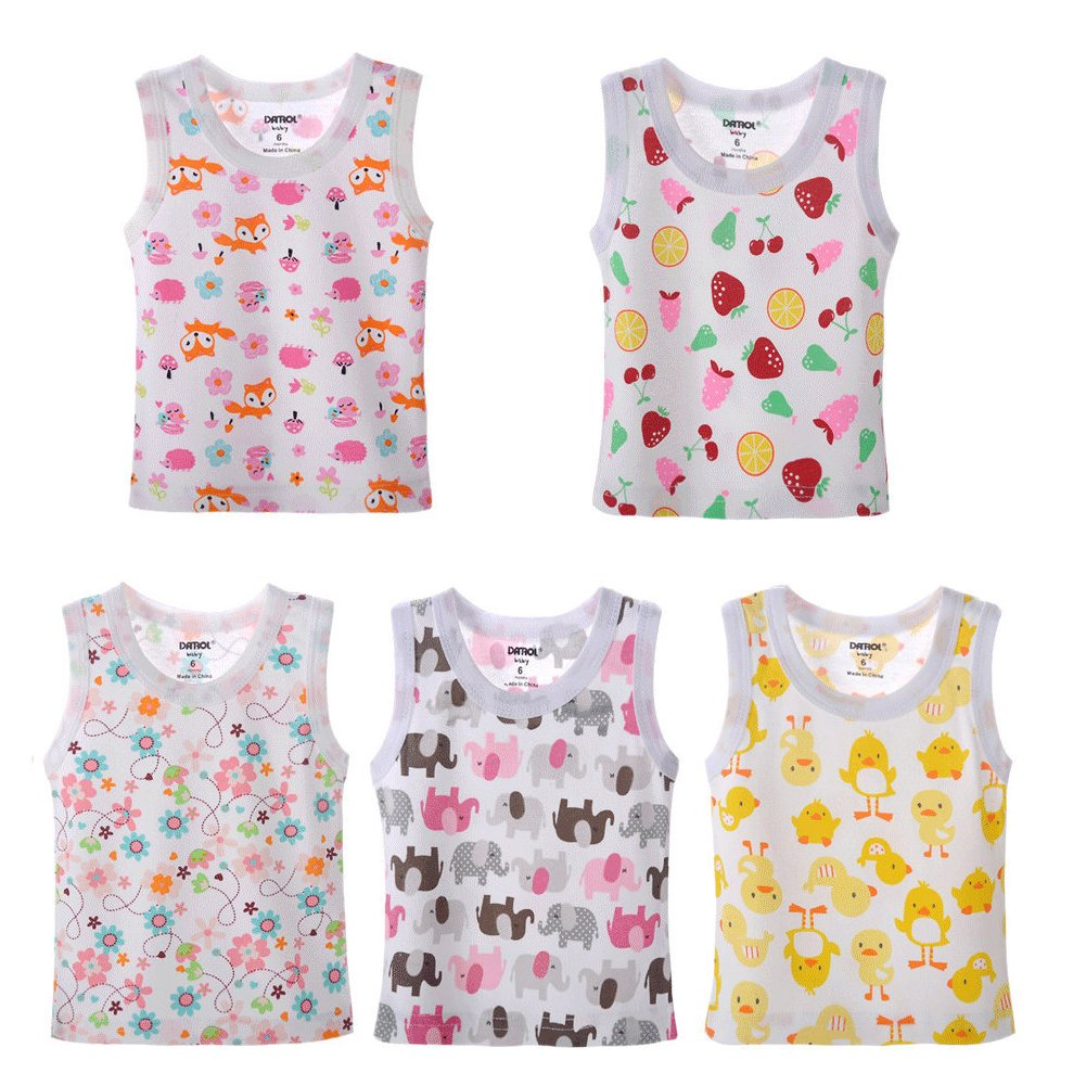 DANROL Baby Girls 5 Pack Carton Print Sleeveless Tank Tops 100 % Cotton 9 Months