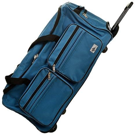 Deuba Bolsa de Viaje Deporte Maleta Azul 85 litros 70 x 36 x 34 2 Ruedas 5 pies Mango telescópico extraíble Viajes