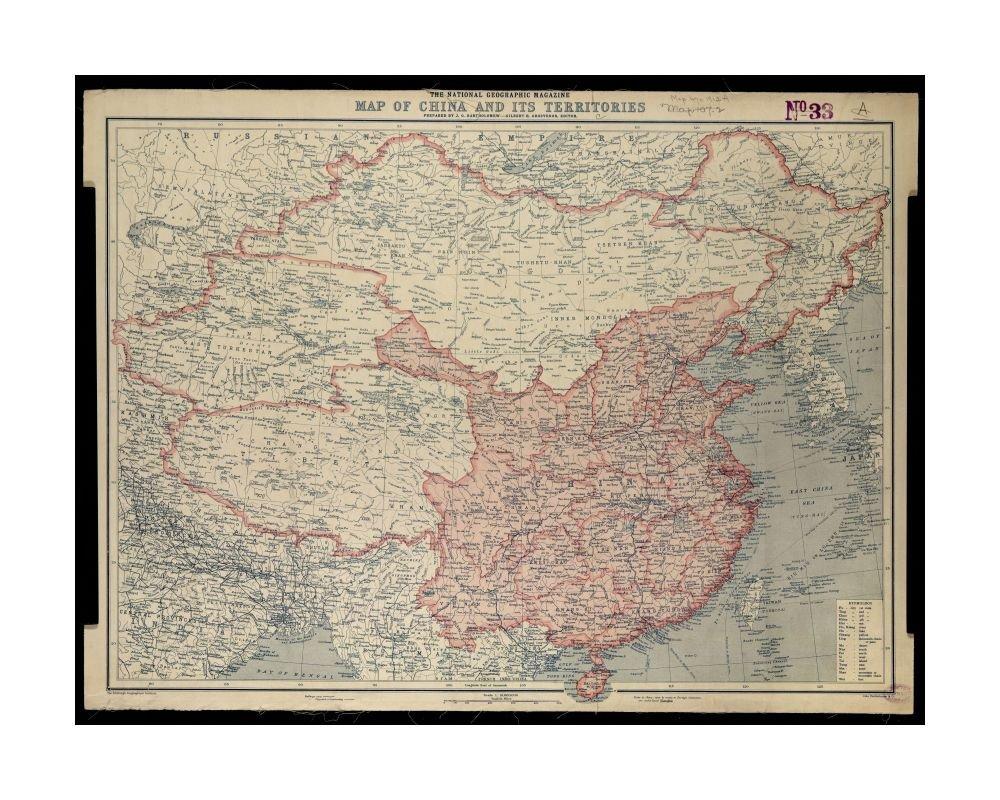 National Geographic Map Of China.Amazon Com 1912 Map China National Geographic Magazine Of China And
