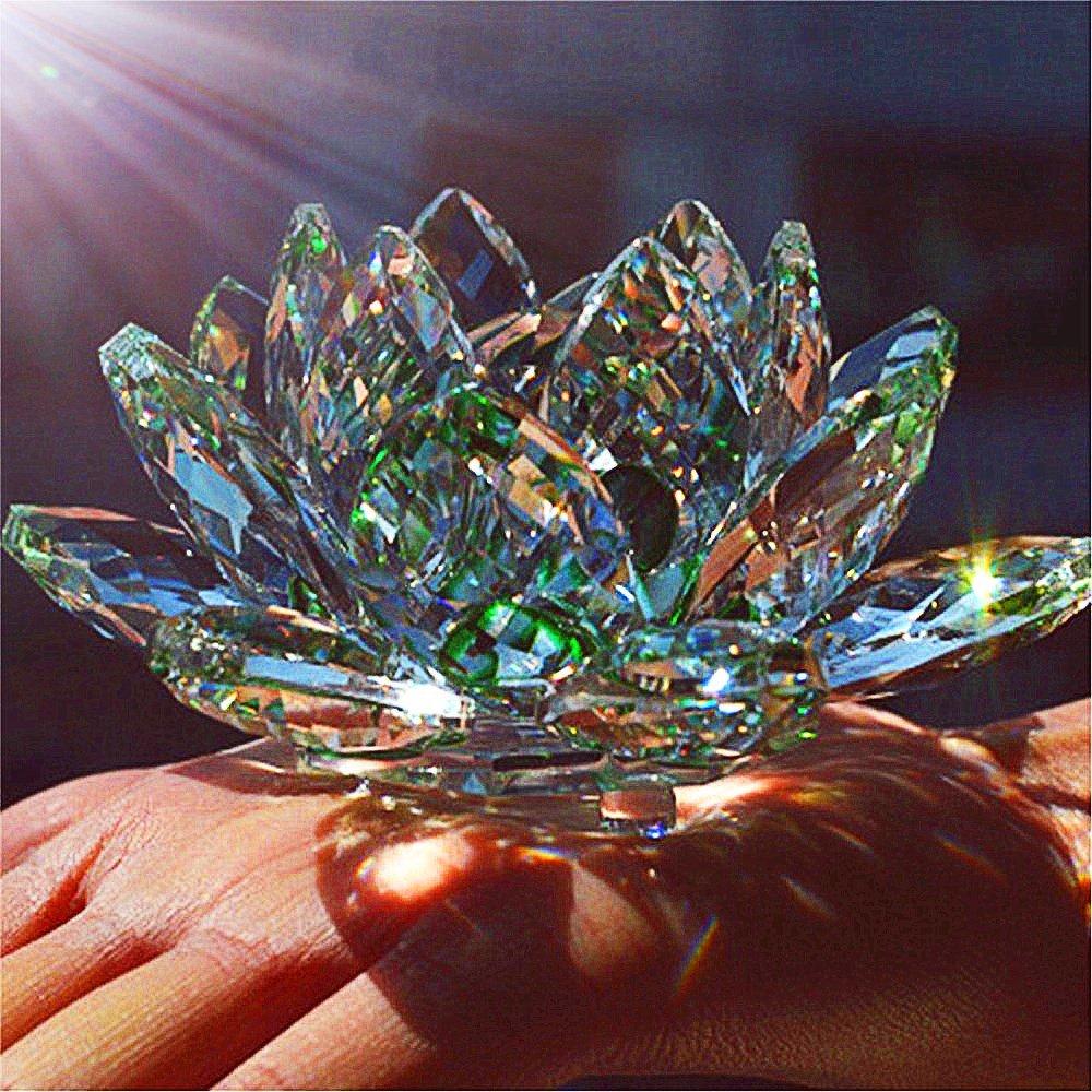 Green Quartz Crystal Glass Lotus Flower Home Décor de mariage Feng Shui Cristaux Souvenirs de pierre pietre naturali e minerali (10cm) taiyuan