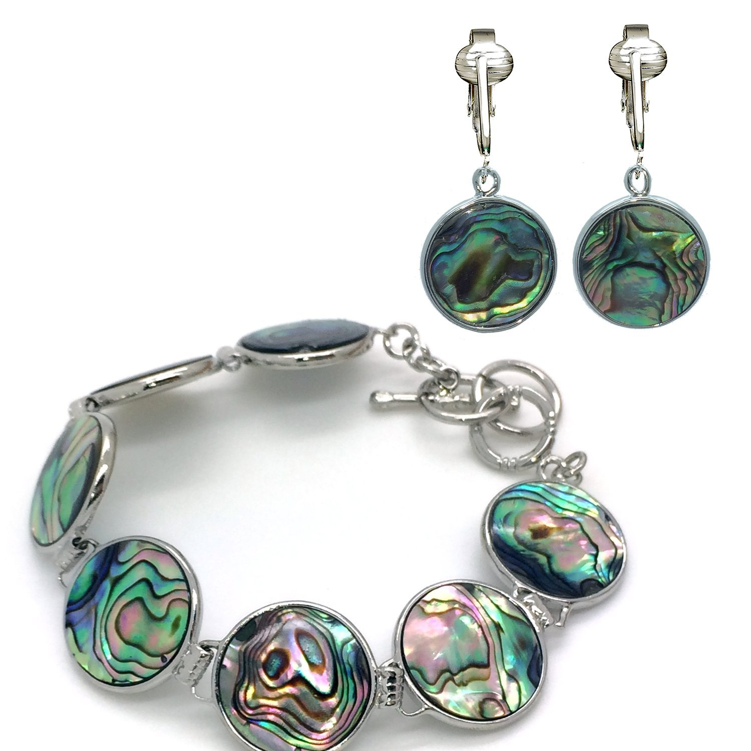 Tahitian-Style Abalone Paua Shell Clip On Earrings-Authentic Ocean Shells Romantic Holiday, Authentic (Paua Round/Bracelet Jewelry Set)