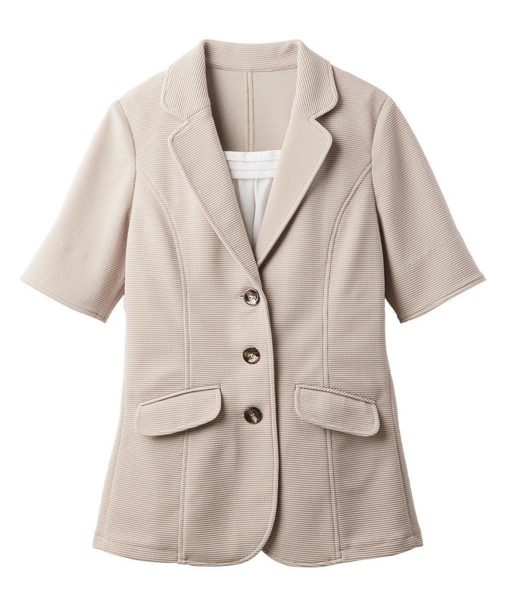 [nissen(ニッセン)] 前当て付5分袖カットソーテーラードジャケット 大きいサイズ レディース B07D8Y47TC 34号|ベージュ ベージュ 34号