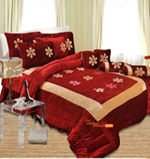 The Intellect Bazaar Lycra Satin Bedding Set With Quilt, Filled Cushions  And Bolsters (Red