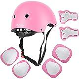 DaCool Kids Helmet Pad Set Knee Elbow Pads Wrist Guards Sports Bike Skateboard Protective Gear Set Adjustable Safety Pad…
