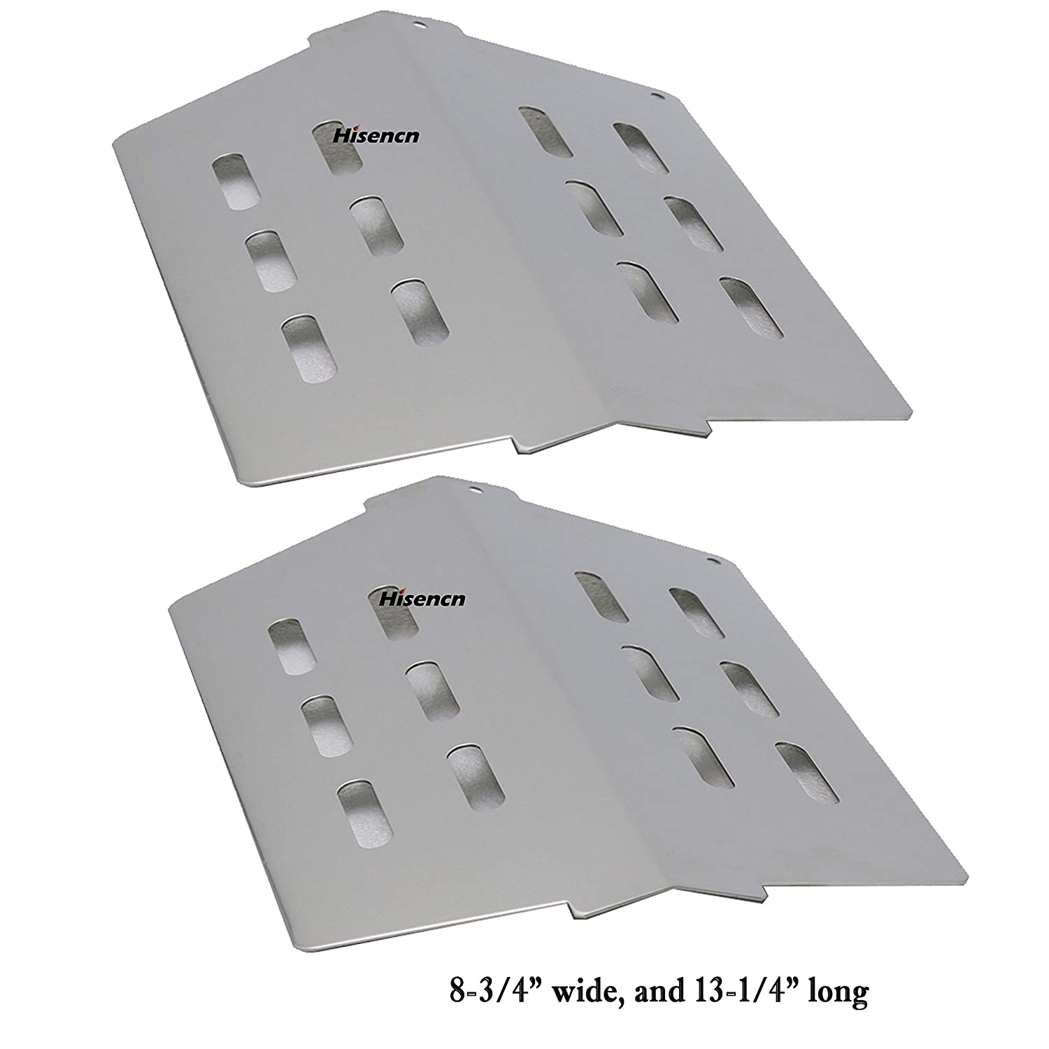 """Hisencn Heat Deflector Weber Genesis 300 (2011 & Newer Model) Front Mounted Control Panels, Flavorizer Bar, Heat Plate, Burner Cover Replacement 7622 (13 1/4"""" X 8 3/4) (2 Pack) H702622"""