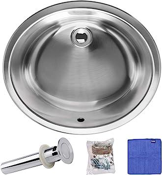 Enbol Esu1714 Oval Single Basin Undermount Bathroom Lavatory Sink Stainless Steel With Pop Up Drain Combo Amazon Com
