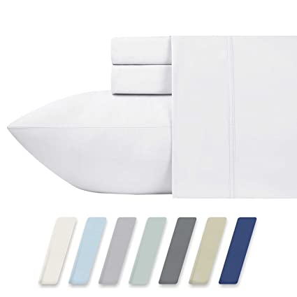 Charming 600 Thread Count Best Bed Sheets 100% Cotton Sheets Set   Pure White Long