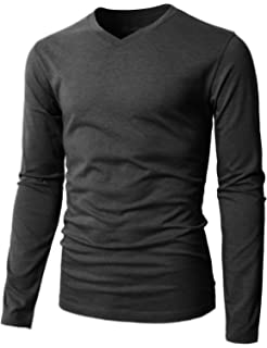 1bae052c H2H Mens Casual Premium Slim Fit T-Shirts Long Sleeve Cotton Blended of  Various Styles