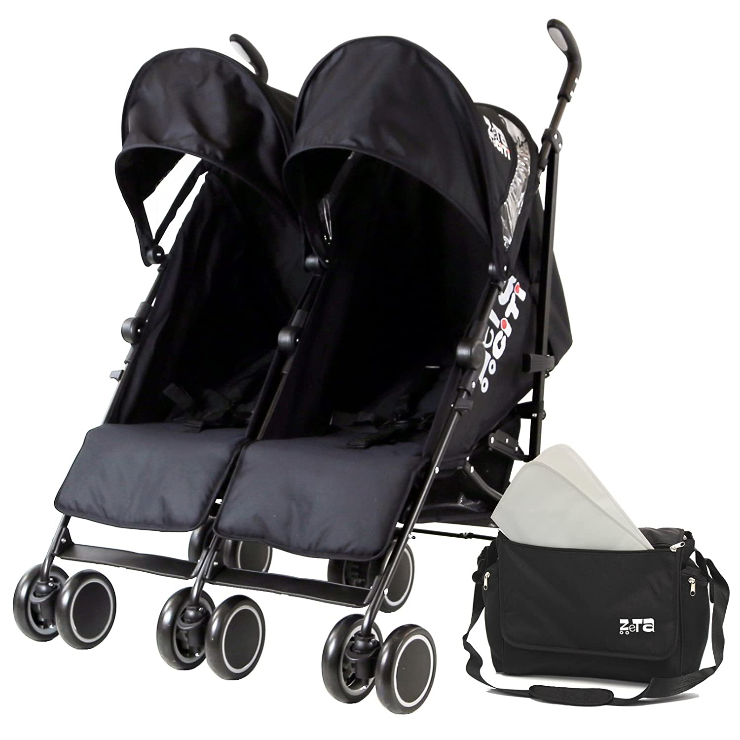 Zeta Citi TWIN Stroller Buggy Pushchair - Black Double Stroller With Bag Baby TravelTM