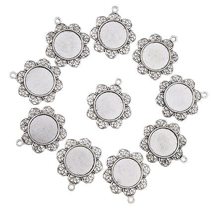 colgantes Bandejas de acero inoxidable con forma de bisel en blanco para colocar en el cabuj/ón bricolaje para bisuter/ía bandejas