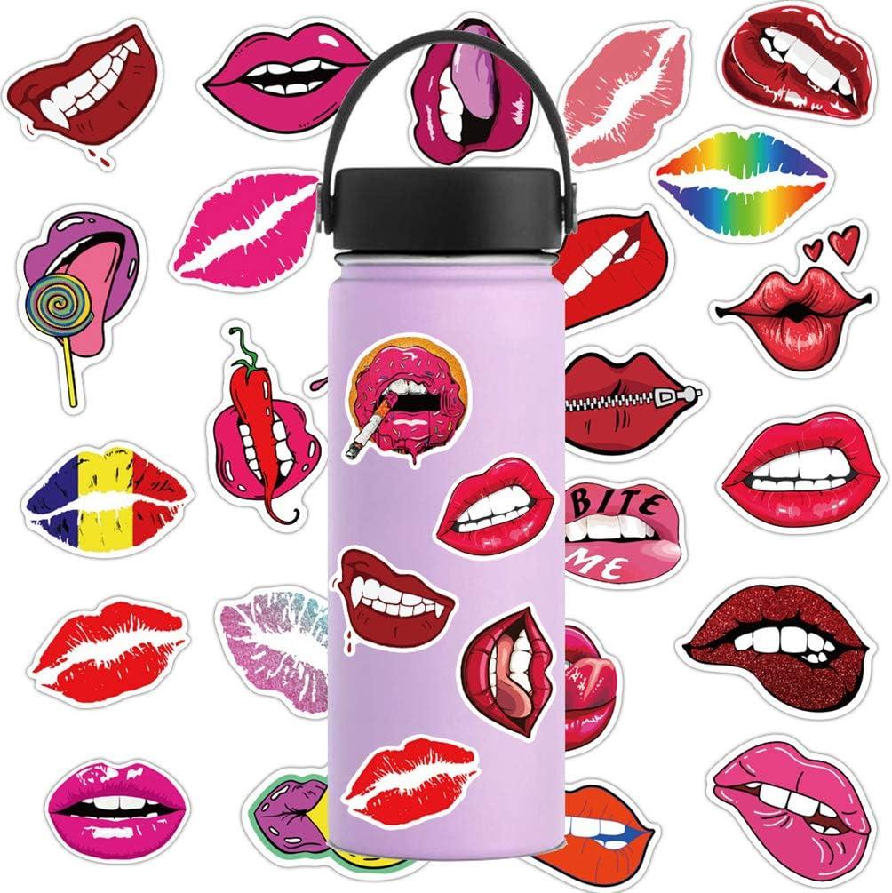 Funny Lips Stickers Sexy Lip Bit Kiss Stickers for Laptop Water Bottles Cars Hydroflasks Bomb Phone Bike 50pcs