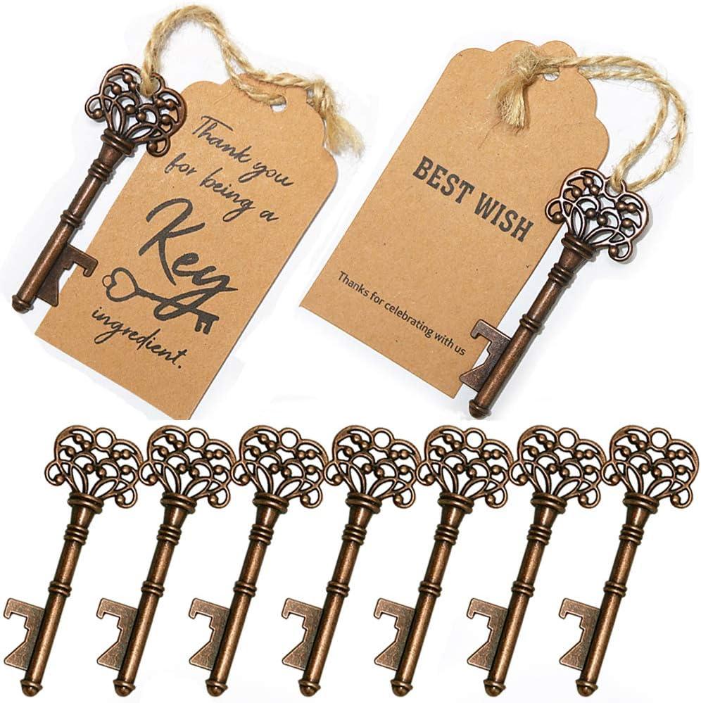 Abrebotellas clave 12 piezas Abrebotellas de llave maestra vintage Favores de la boda Abrebotellas llave vintage Abridor de champ/án con etiqueta y guita
