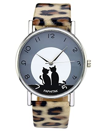 Top Plaza Womens Cat Pattern Round Dial Leopard Print Artificial Leather Band Arabic Numerals Quartz Analog