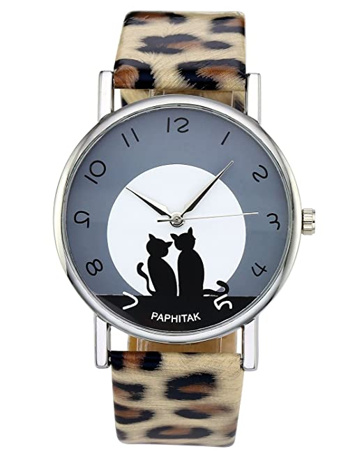 Amazon.com: Top Plaza Womens Cat Pattern Round Dial Leopard Print Artificial Leather Band Arabic Numerals Quartz Analog Watch 3ATM Waterproof: Watches