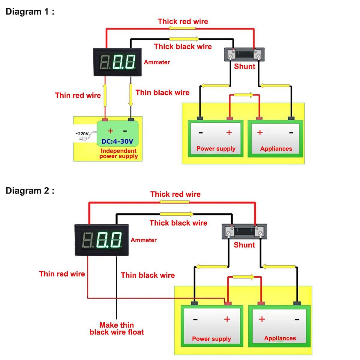 Cool Amazon Com Drok Micro Digital Amp Meter 0 56 Electric Ammeter Dc 0 Wiring 101 Capemaxxcnl