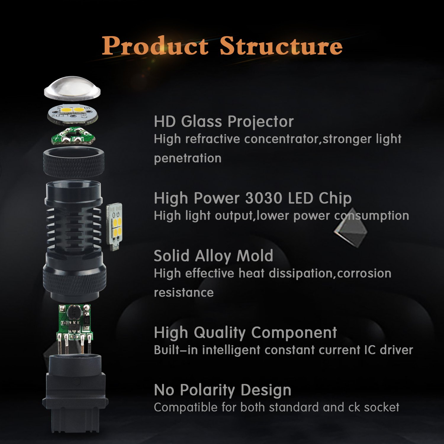 Low Consumption Dual Led Flasher Circuit Schematic Diagram Auxito Extremely Bright 3030 Chipsets White And Amber Color Switchback 3157 3155 3457 4157 Bulbs With Projector For Car Turn Signal