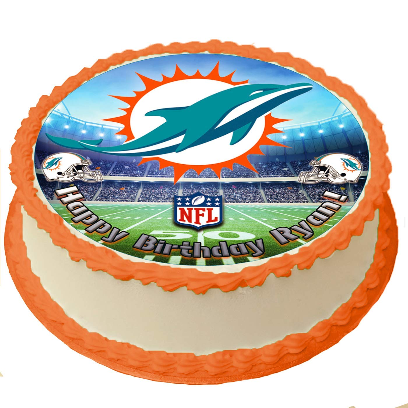 Awe Inspiring Miami Dolphins Nfl Personalized Cake Topper Icing Sugar Paper 8 Personalised Birthday Cards Paralily Jamesorg