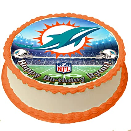 Awe Inspiring Miami Dolphins Nfl Personalized Cake Topper Icing Sugar Paper 8 Funny Birthday Cards Online Elaedamsfinfo