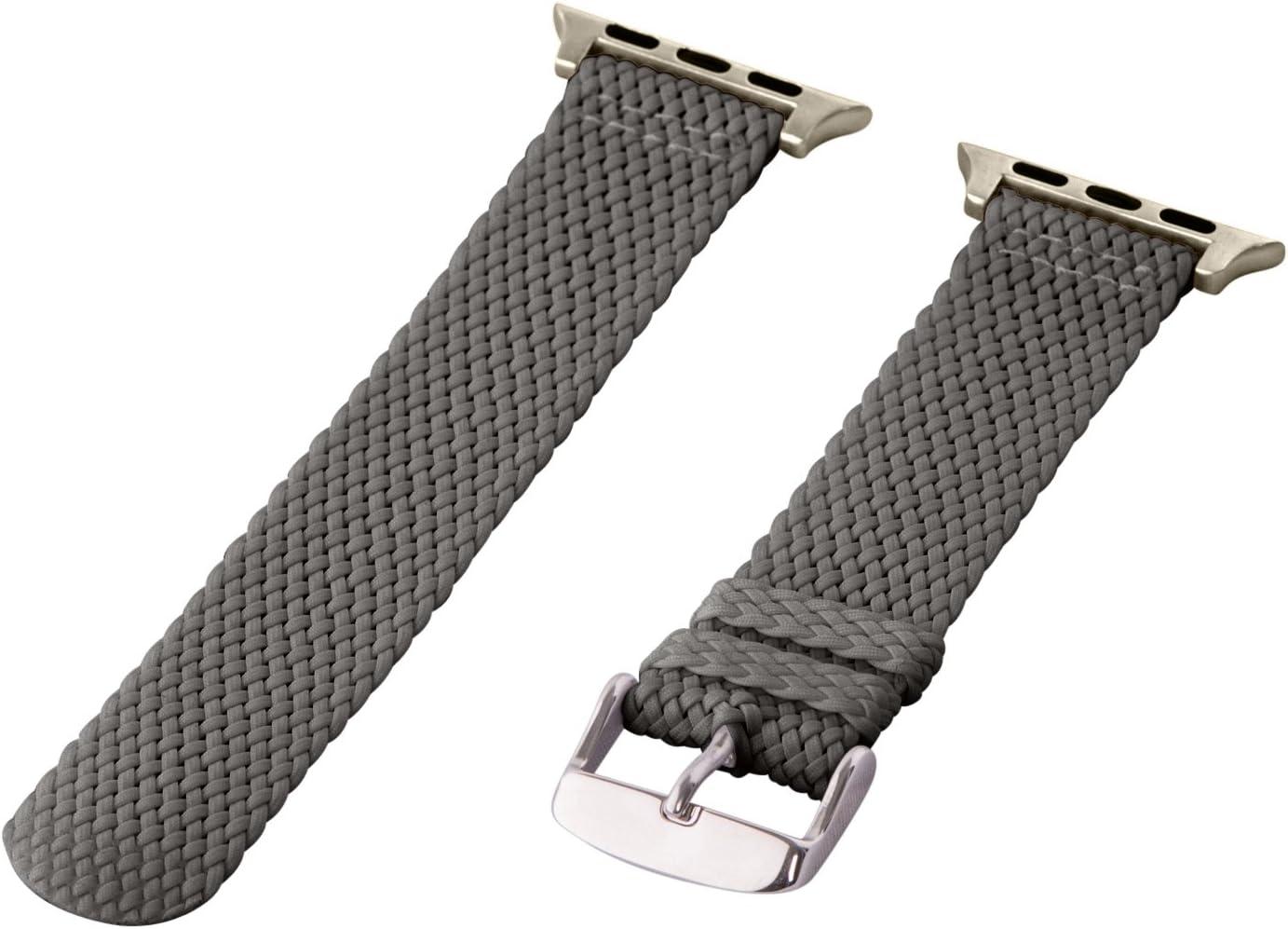 Clockwork Synergy - 2 Piece Perlon Braided Nylon Bands for Apple Watch (38mm Dark Grey)