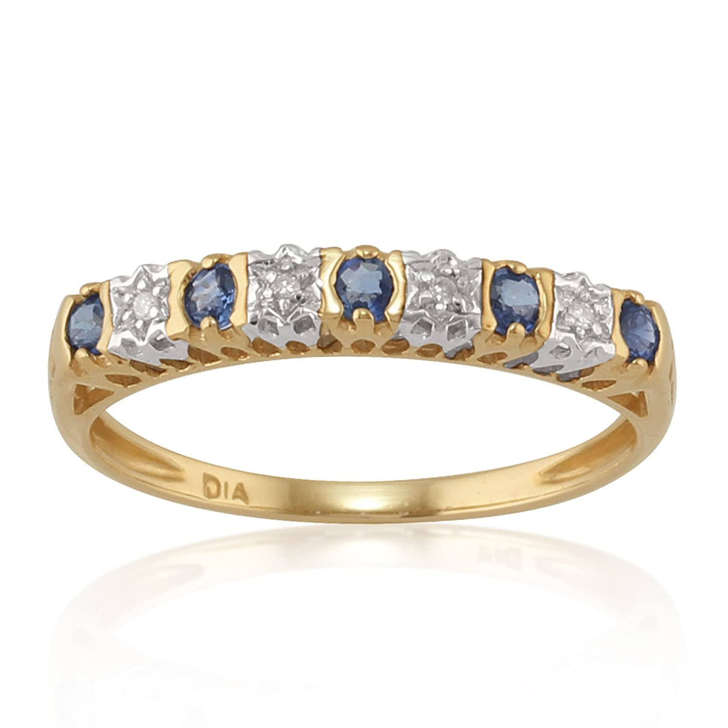 9ct Yellow Gold 0.24ct Natural Sapphire & Diamond Half Eternity Ring Gemondo