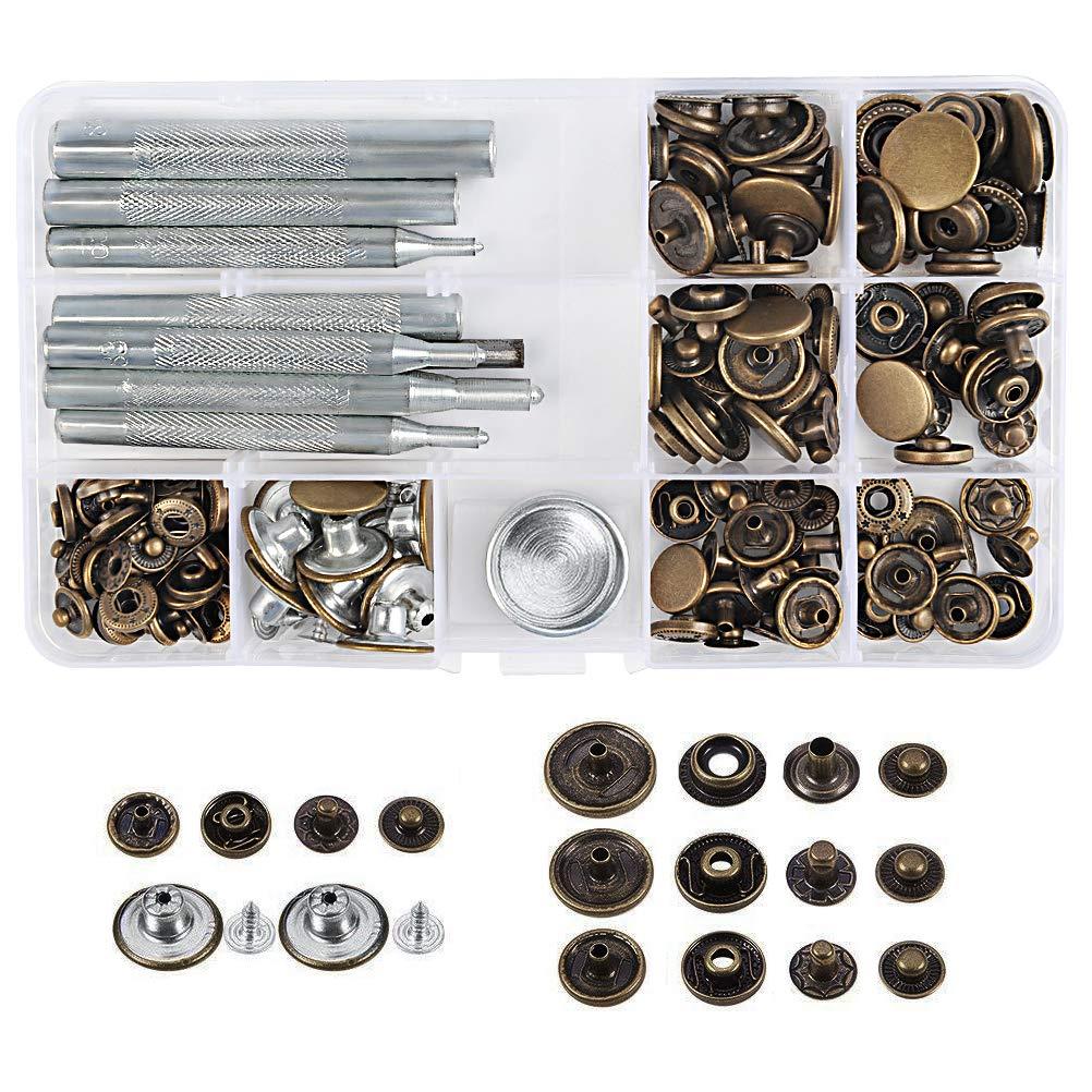 WOWOSS 50 Pezzi Bottoni Automatici in Metallo e 9 Set di Strumenti per l'Installazione di Bottoni, Bottoni Automatici a Pressione per Jeans Pelle Cuoio e Tende.