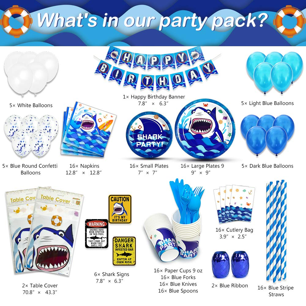 WERNNSAI Shark Party Supplies Set - Blue Ocean Pool Party Decorations for Boys Kids Birthday Banner Signs Balloons Cutlery Bag Tablecloth Plates Cups Napkins Straws Utensils Serves 16 Guests 175 PCS by WERNNSAI (Image #2)