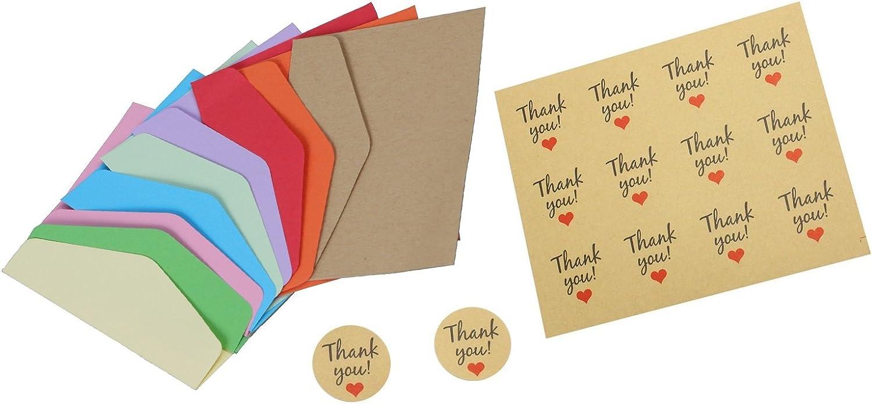 11,4/x 8/cm Multi Couleur carte cadeau enveloppes avec 48/pcs Thank You Stickers pour fleuriste Craft carte cadeau de f/ête Fournitures mariage Meetory 45/pcs Mini enveloppe anniversaire
