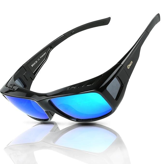 DUCO Gafas Polarizadas para usar con Anteojos Debajo 8953 Tamaño Plus Color Azul Revo