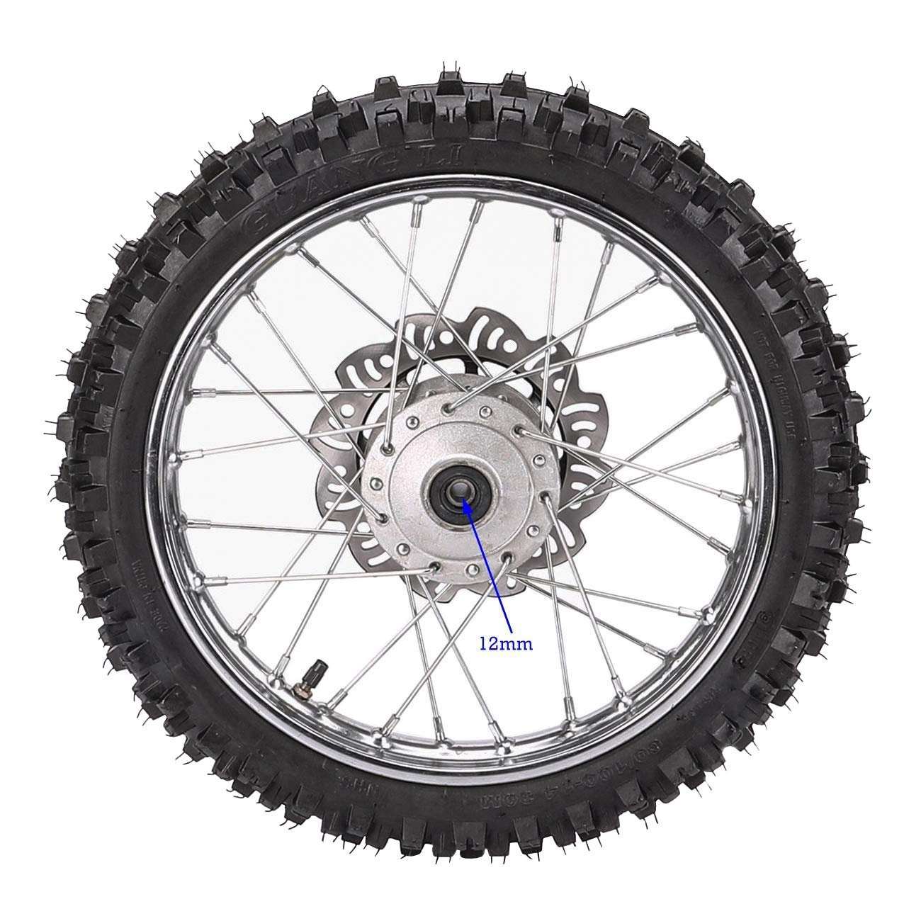 ZXTDR 2.50-14 1.4x14 inch Wheel With 12mm Bearing Axle 60//100-14 Tire Rim /& Disc Roto Assembly For Dirt Pit Bike
