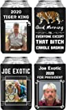 Joe Exotic For President 2020 The Tiger King | 4 PCS Carole Baskin Beer Coozies For Cans | Funny Beer Can Cooler Holder | Good Morning To Everyone Except That Bitch Carole Baskin E