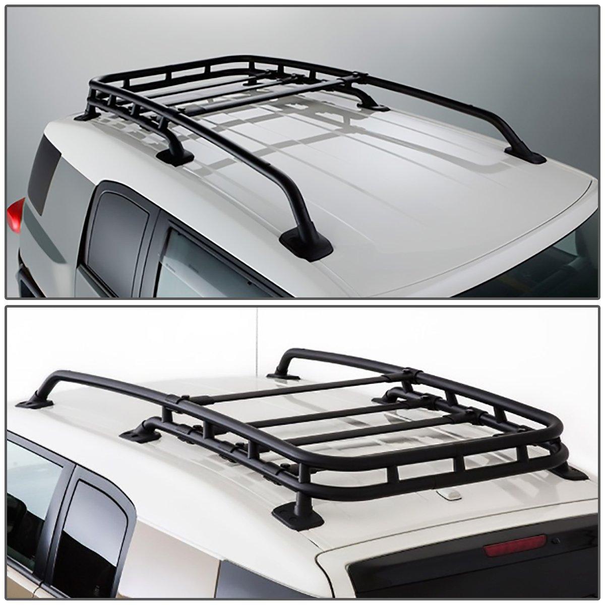 For FJ Cruiser Black-Coated Aluminum Roof Rack Rail Top Cargo Luggage Carrier