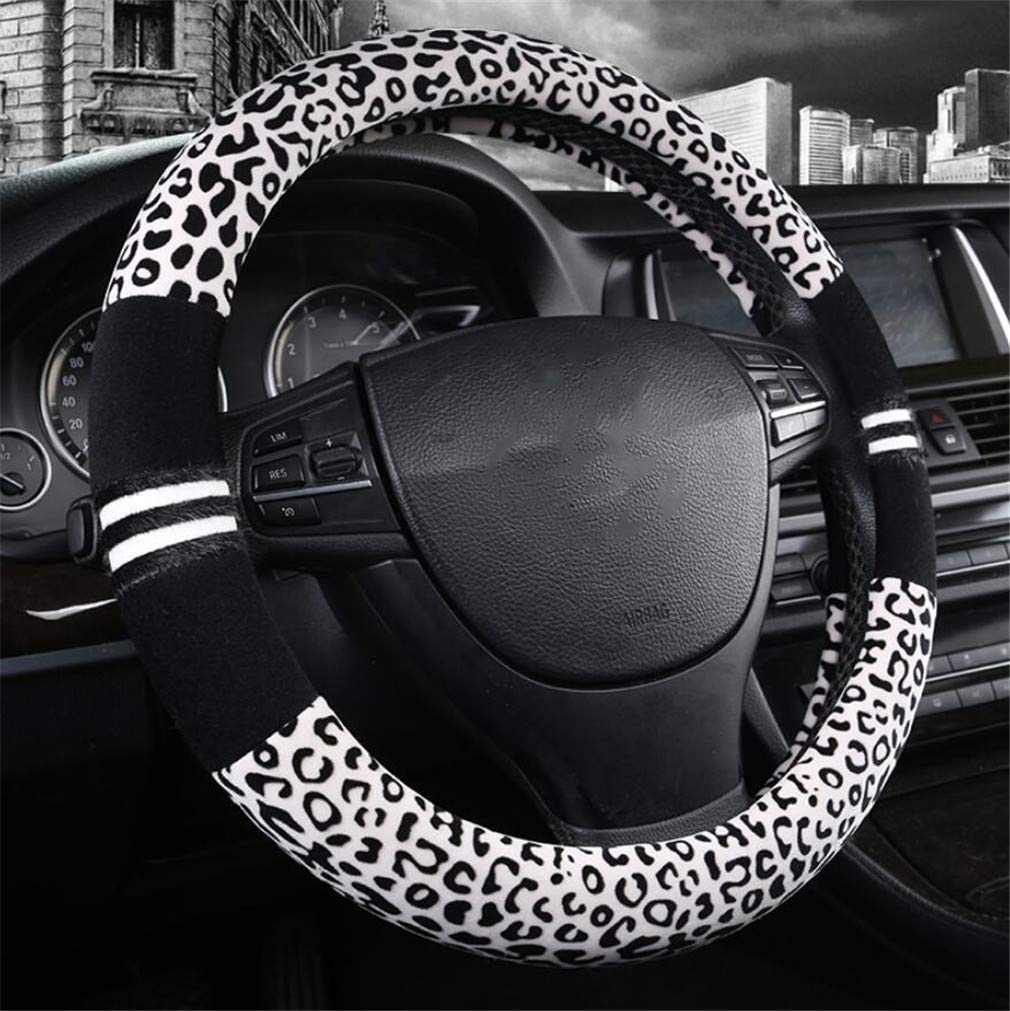 ELEGENCE-Z Cubierta cómoda del Volante del Coche, Personalidad usable Leopard Style Caliente Antideslizante Cubierta del Volante del Coche -38CM