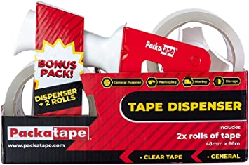 TAPE-DISPENSER-GUN 50mm+6 ROLLS FRAGILE HANDLE WITH CARE PACKING TAPE 66M X 48MM