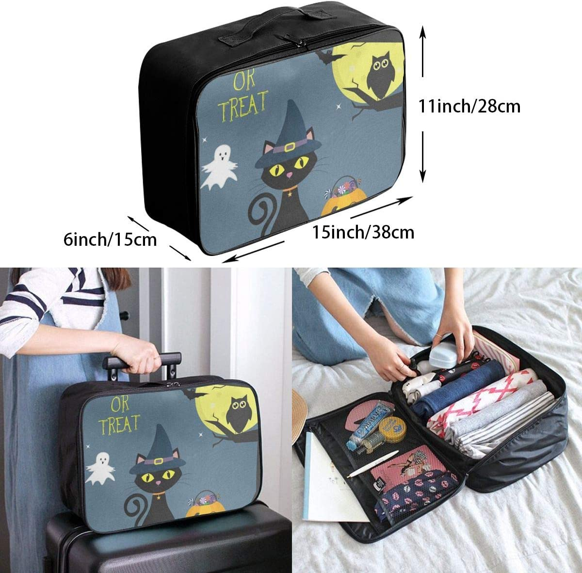 Travel Bags Cat In The Witchs Hat Pumpkin With Sweets Portable Foldable Trolley Handle Luggage Bag