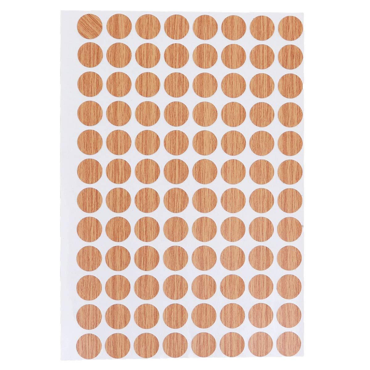 Vosarea Waterproof Screw Hole Covers Non Slip Decorative Stickers 15mm 96pcs/Sheet (Light Brown)