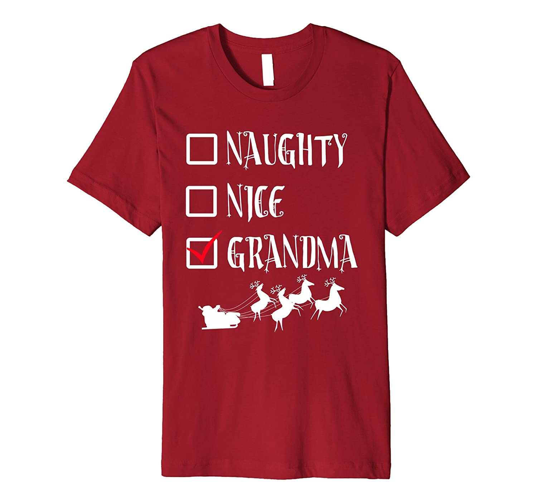 UGLY CHRISTMAS SWEATER SHIRT Naughty Nice GRANDMA Funny Tee-ANZ