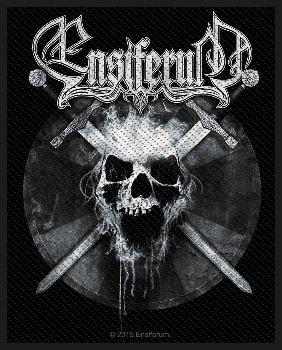 Ensiferum Sword Bearing Skull Patch Folk Metal Band Jacket Woven Sew On Applique SP2804