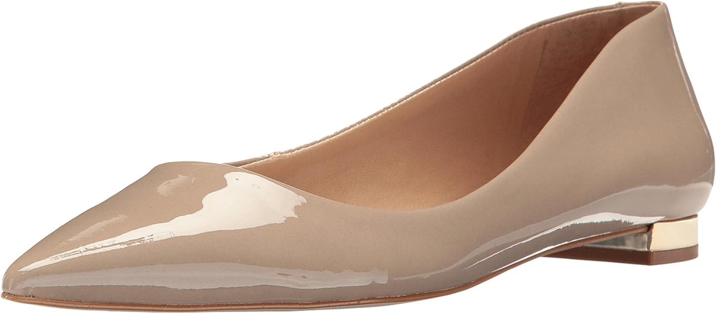 Massimo Matteo Womens Pointy Toe Flat 17 B0725BDMMW 8.5 B(M) US Desert Patent