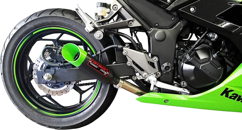 Coffmans Shorty Slip On Exhaust Muffler for Kawasaki Ninja 300 Sportbike with Blue Tip 2013-2017