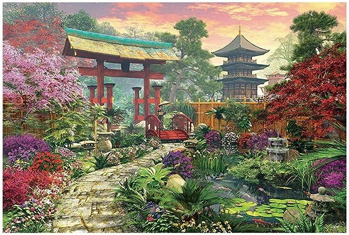 Puzzles Paisaje japonés Jardín - Madera Colorido Rompecabezas - for Adultos y niños-Mejor Juego for Jugar la colección de la Familia (300/500/1000 Piezas) (Size : 500pcs): Amazon.es: Hogar