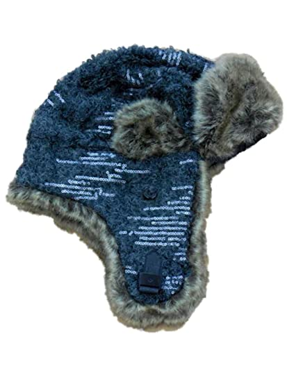 Mudd Women s Gray Knit Trapper Style Hat with Faux Fur Lining at ... c9e53001e80