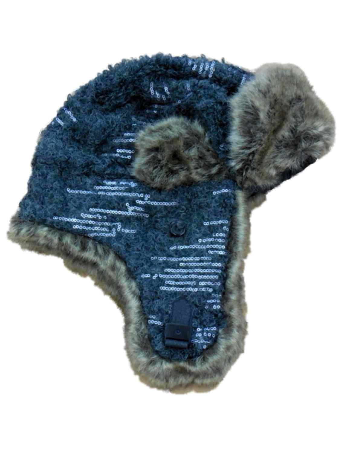 Mudd Women's Gray Knit Trapper Style Hat With Faux Fur Lining