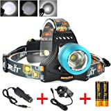 Boruit USB Rechargeable LED Headlamp Super Bright Head Torch 18650 LED Headlight for Outdoor Camping Running Hiking Hunting(Blue)