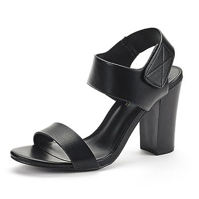 9f7f712d32f DREAM PAIRS Women s HIN Black Pu Open Toe Mid Chunky Heel Pump Sandals - 6 M