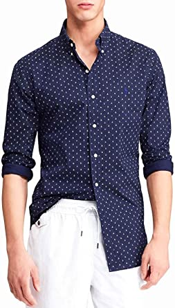 Polo Ralph Lauren Camisa Anclas Azul Hombre S Marino: Amazon ...