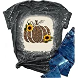 TIXOM Womens Leopard Pumpkin Printed Graphic T-Shirts Thanksgiving Round Neck Shirt Funny Halloween Casual Tops Blouse