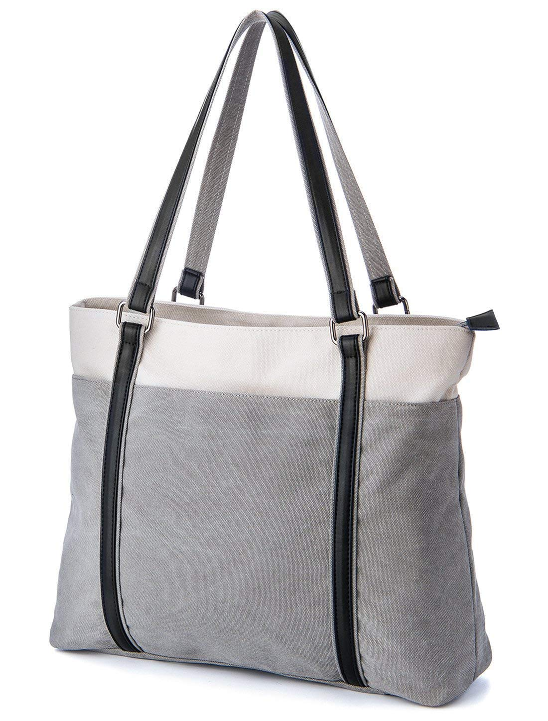Coolqiya Canvas Tote Handbag Laptop Shoulder Bag Business Work School for Man and Woman-Light Gray